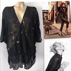 Lane Bryant Black Sequin Blouse Plus 26 / 28 4X